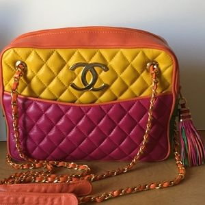 CHANEL Multicolor Lambskin Quilted Camera Bag
